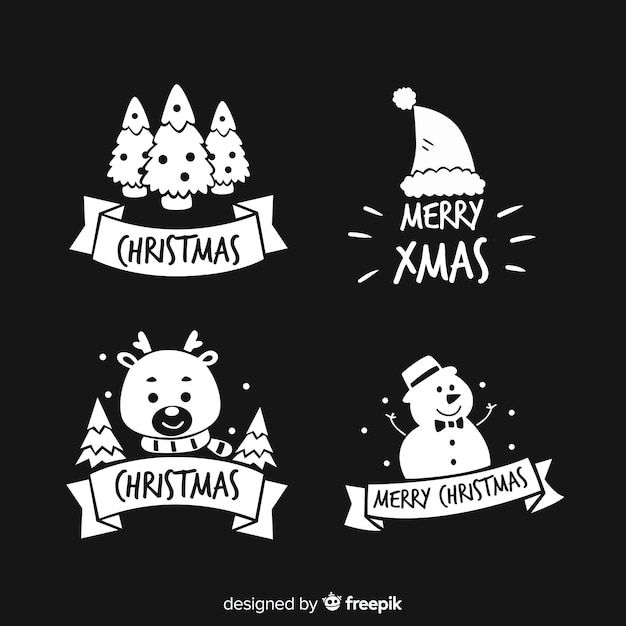 Christmas stickers silhouette pack Free Vector