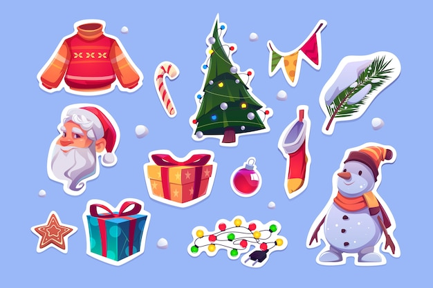 Christmas stickers with santa claus, sweater, pine tree and snowman. vector cartoon icons set of new year decoration, garlands, gift boxes, candy cane, cookie and xmas stocking Free Vector