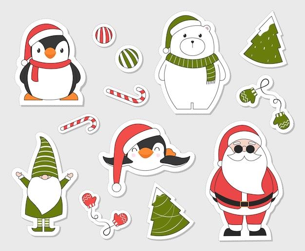 Рождественские наклейки. Premium векторы