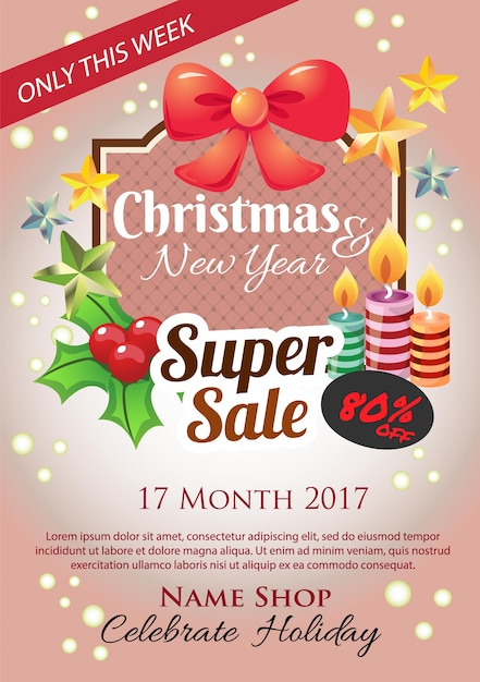 christmas super sale poster vector premium download. Black Bedroom Furniture Sets. Home Design Ideas