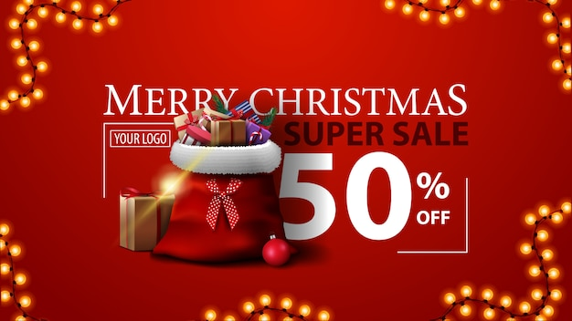Christmas super sale, up to 50% off, red modern discount banner with santa claus bag with gifts Premium Vector