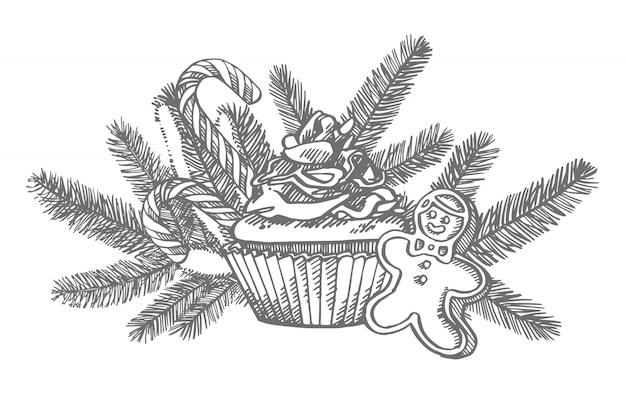 Рождественские сладости и ветки елки. рисованной иллюстрации новый год и рождественские элементы дизайна. , старинные иллюстрации Premium векторы