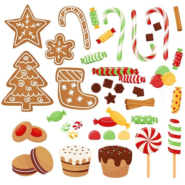 Christmas sweets set assorted candies cookies Premium Vector
