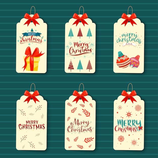 Рождественский тег настоящий набор макетов Бесплатные векторы