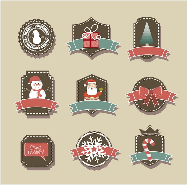 Christmas tags over beige background vintage style vector Premium Vector
