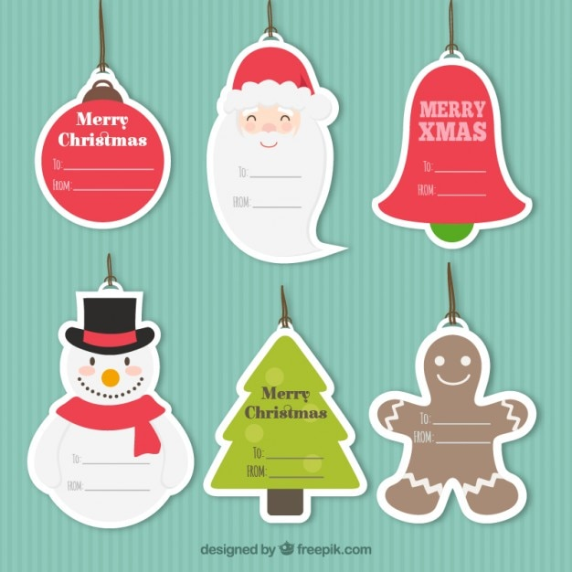 Christmas tags collection Premium Vector