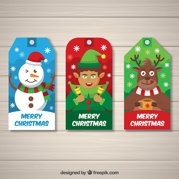 Christmas tags with nice characters