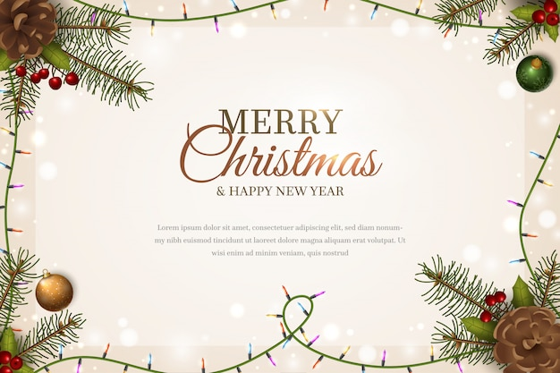 Christmas template background whit spruce branches Premium Vector