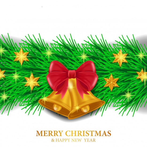 Christmas template with garland decoration Premium Vector