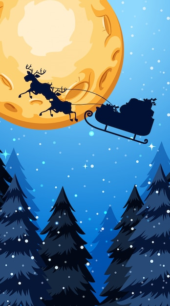 Christmas theme illustration with santa claus flying at night Free Vector