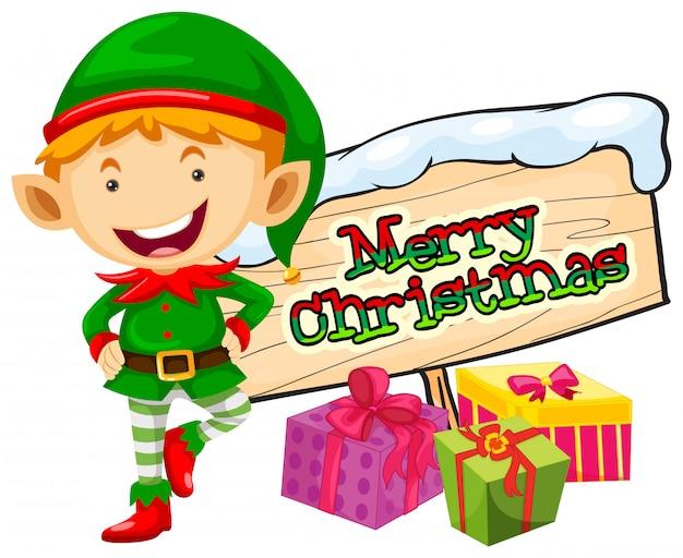 Christmas theme with elf and christmas sign Free Vector