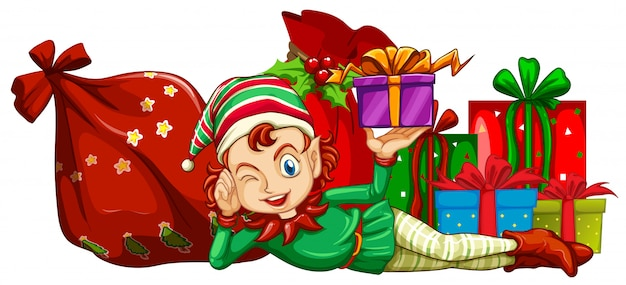Christmas theme with elf and gift boxes Free Vector