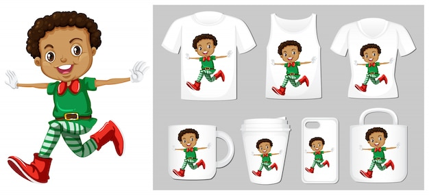 Christmas theme with elf on product templates Free Vector