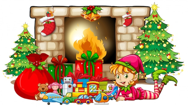 Christmas theme with elf and toys by fireplace Free Vector