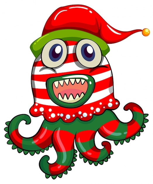 Christmas theme with monster in christmas hat Free Vector