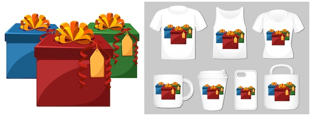 Christmas theme with presents on many products Free Vector