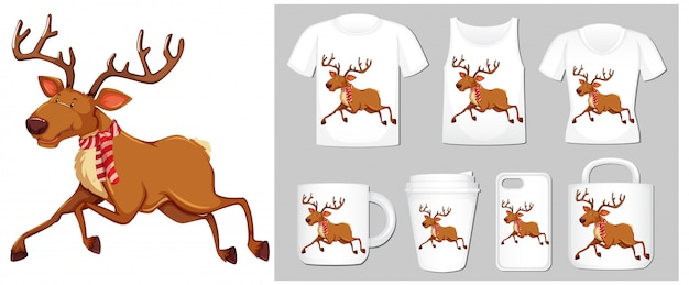 Christmas theme with reindeer on product templates Free Vector
