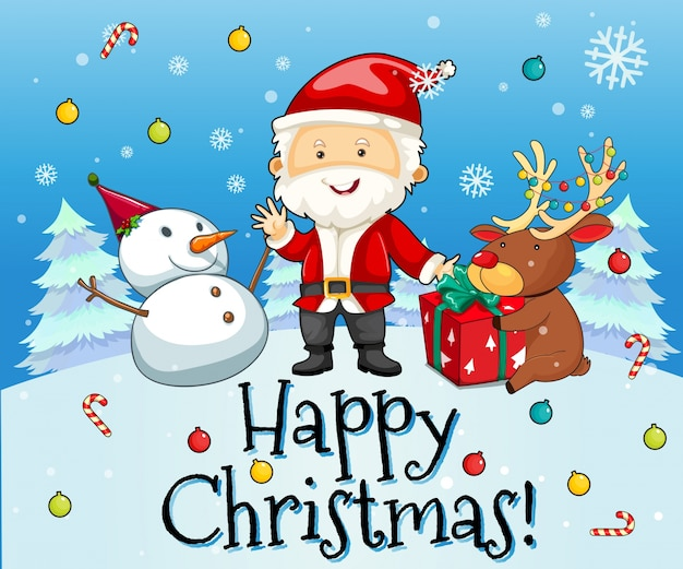 christmas theme with santa and snowman premium vector - Santa And Snowman