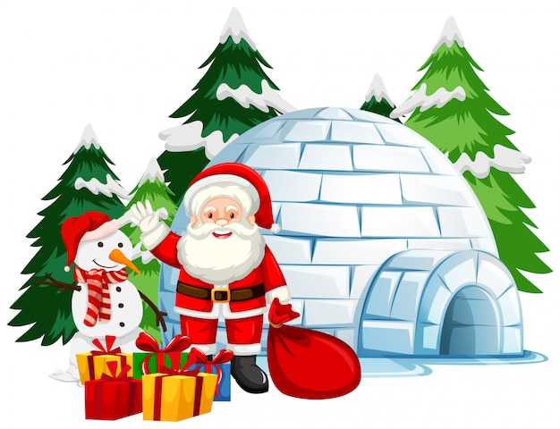 Christmas theme with santa by the igloo Free Vector
