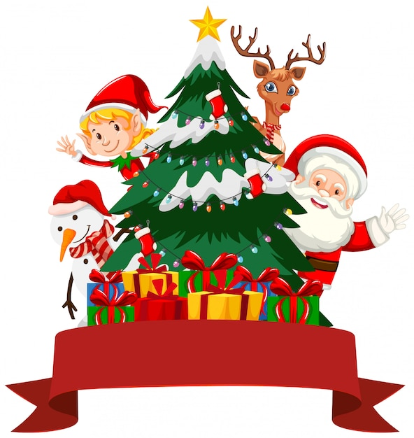 Christmas theme with santa and elf Free Vector