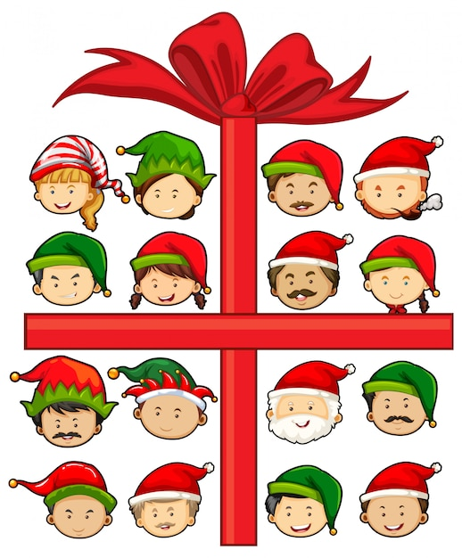 Christmas theme with santa and elves Free Vector