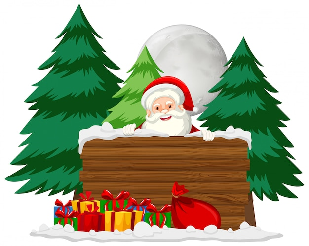 Christmas theme with santa and many presents Free Vector
