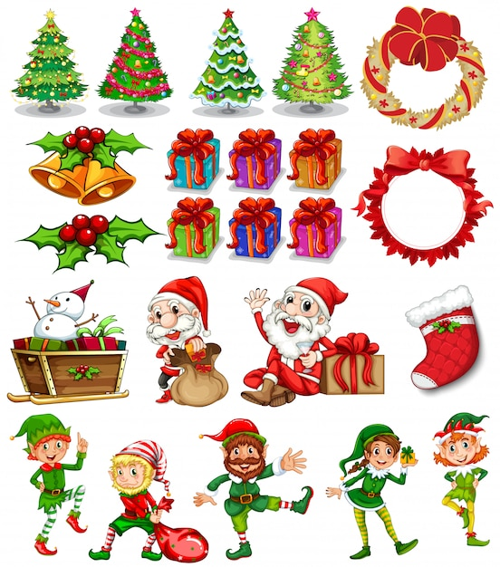 Christmas theme with santa and ornaments Premium Vector