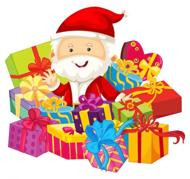 Christmas theme with santa and presents Premium Vector