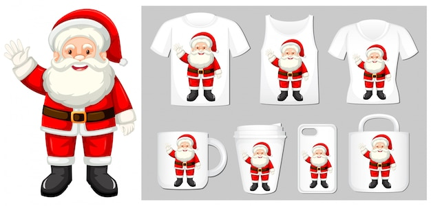 Christmas theme with santa on product templates Free Vector