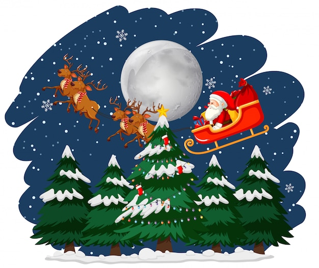 Christmas theme with santa on sleigh Free Vector