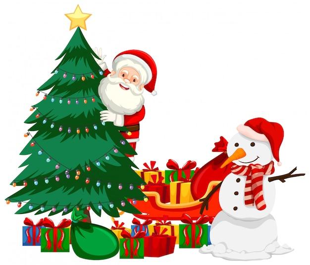 Christmas theme with santa and snowman Free Vector