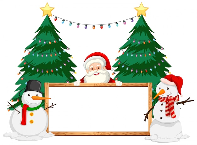 Christmas theme with santa and snowman Free Vector