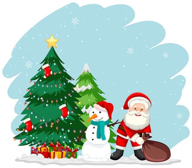 Christmas theme with santa and tree Free Vector