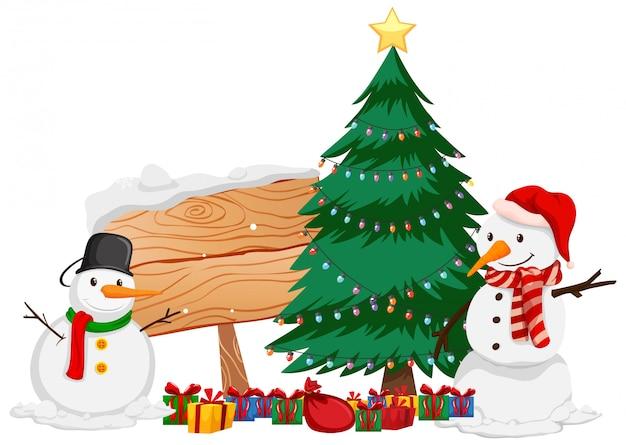 Free Vector Christmas Theme With Snowman And Christmas Tree