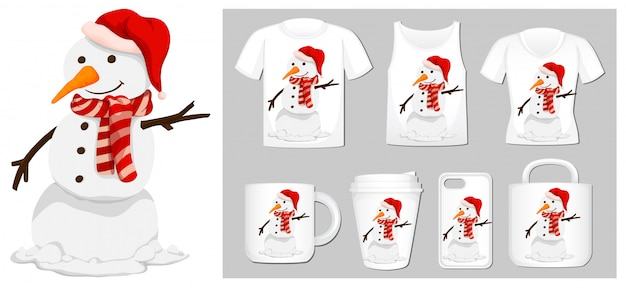 Christmas theme with snowman on many products Free Vector