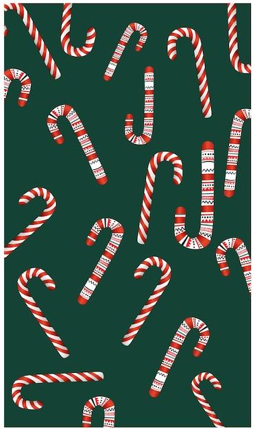 クリスマスをテーマにしたキャンディーのパターンさまざまなキャンディケイン。 無料ベクター