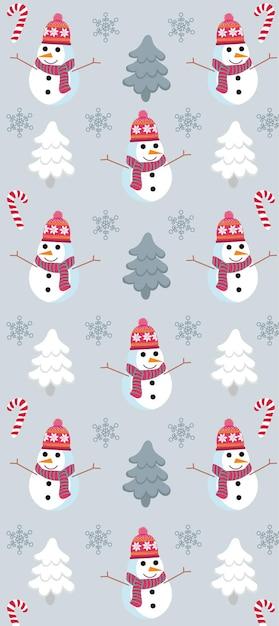 雪だるま、松の木、雪片、キャンディケインのクリスマスをテーマにしたパターン。 無料ベクター