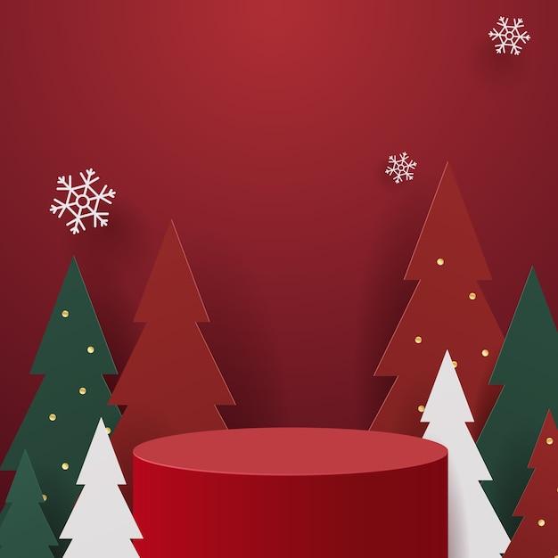 クリスマスをテーマにした表彰台のイラスト Premiumベクター