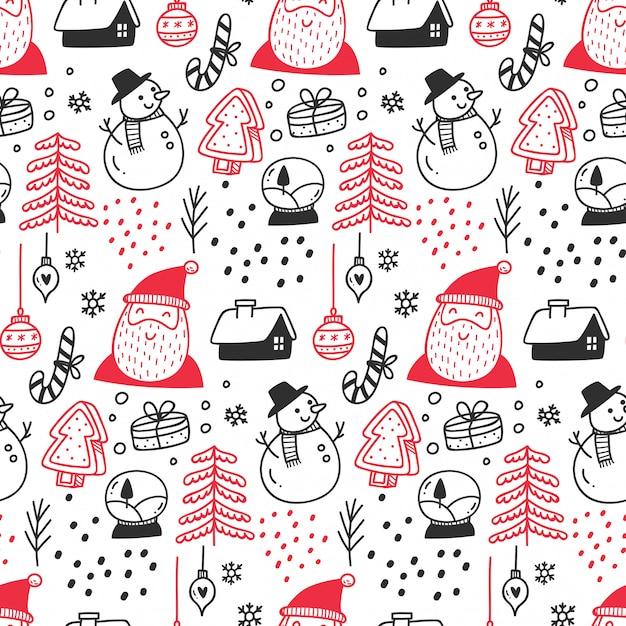 Christmas themed seamless pattern Premium Vector