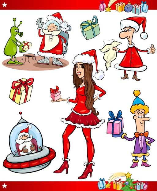 christmas themes cartoon set premium vector