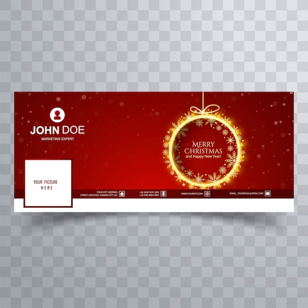 Christmas timeline cover  vector Free Vector