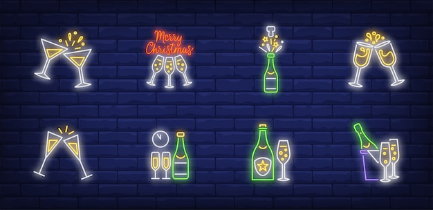 Christmas toast symbols set in neon style Free Vector