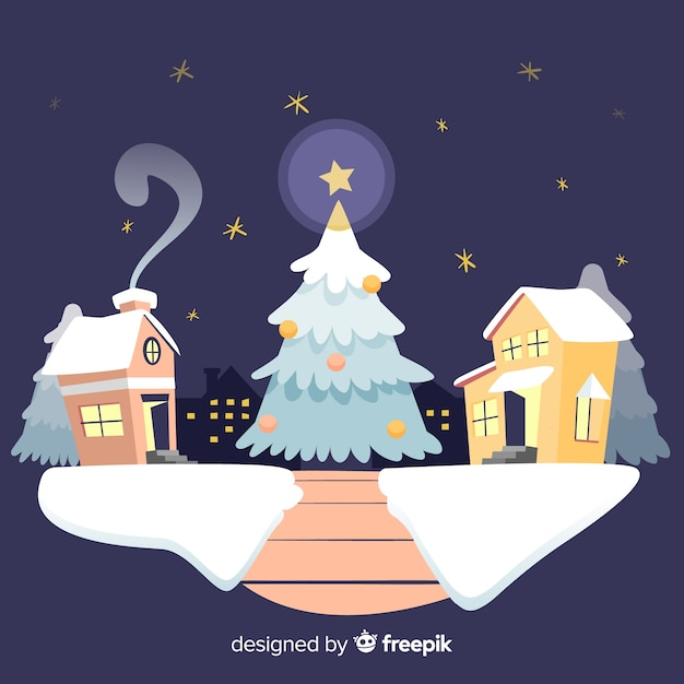 Christmas town background in flat design Free Vector