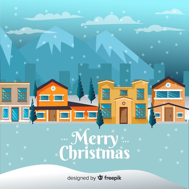 Christmas town background in flat style Free Vector