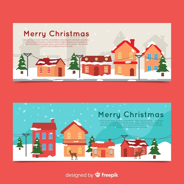 Christmas town banner Free Vector