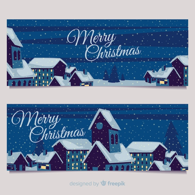 Christmas town banners in flat style Free Vector