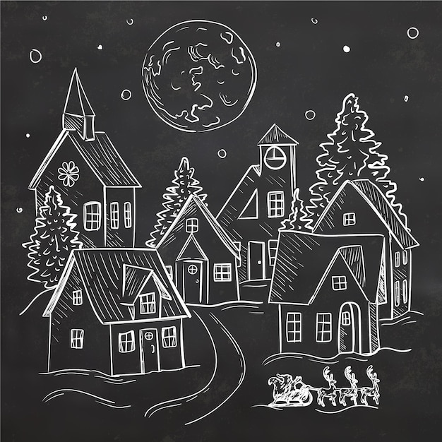 Christmas town concept in hand drawn Free Vector