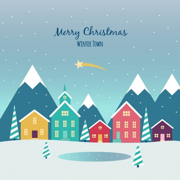 Christmas Town Flat Background Vector Free Download