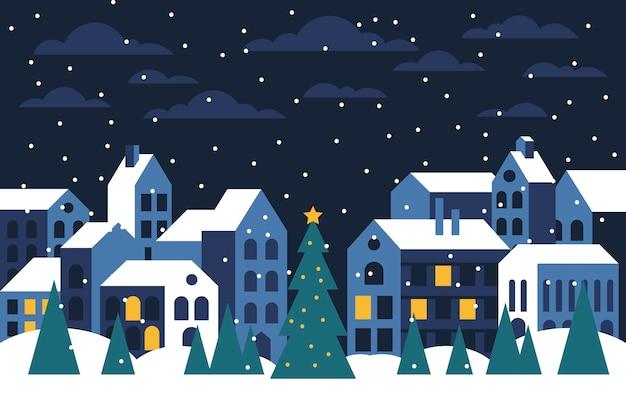 Christmas town flat design wallpaper Free Vector