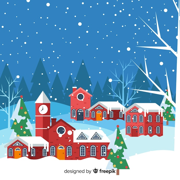 Christmas town in flat design Free Vector